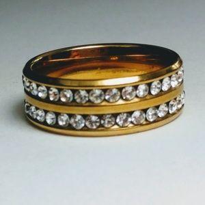 BEAUTIFUL Gold Plated Pave round CZ Wedding Band